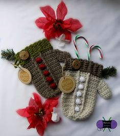 Mitten Gift Holder: Enjoy making this Crochet interactive pattern by Blackstone Designs Crochet only on Ribblr with unique tools - available on web & app! Get this pattern now and start crafting! Crochet Christmas Ornaments, Christmas Crochet Patterns, Holiday Crochet, Crochet Gifts, Free Crochet, Christmas Items, Christmas Holiday, Learn Crochet, Crochet Afghans