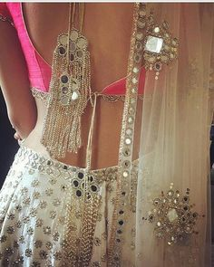 best wedding stores of Shahpur Jat with prices ! Oh would you look at this back. What a gorgeous white pink mirror lehenga choli by Abhinav Mishra Indian Lehenga, Lehenga Choli, Anarkali, Bridal Lehenga, Lehenga Blouse, Lehenga Designs, Saree Blouse Designs, Dress Designs, Indian Dresses