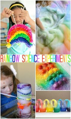 These are super fun science experiments all about Rainbows. These are perfect for a rainbow unit or just for Spring fun! #rainbow #rainbowactivities #preschoolscience #kidsactivities