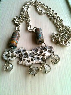 Shell and bead necklace with crystal drops via Etsy