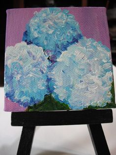 Hydrangeas Mini Canvas, Acrylic Painting On Little Canvas With Easel, Blue…