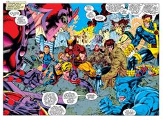 """the X-Men by Jim Lee - """"You're playin' right into the hands of every demagogue who believes muants ought'a be wiped off he face o' the earth! Marvel Dc Comics, Marvel Heroes, Marvel Characters, Captain Marvel, X Men, Comic Books Art, Comic Art, Book Art, Wolverine Costume"""