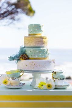 Cake in yellow and mint green styled shoot: yellow & mint inspiration by wedding concepts | bloved weddings | UK Wedding Blog | Wedding Inspiration & Styling