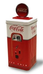 Coca-Cola Machine Bank Retro Tin , Here's a cute way to contain that loose change! This charming Coca-Cola truck bank looks totally adorable on a desk or shelf – and it makes saving money fun. Coca Cola Store, Coke Machine, Coca Cola Kitchen, Vintage Tin Signs, Vintage Coke, Drink Signs, Pepsi, Retro, Beverages