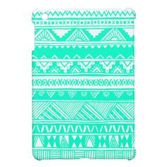 White Turquoise Girly Aztec Geometric Pattern iPad Mini Case
