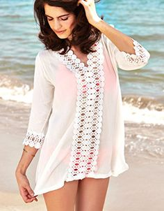 c31d1edf50275 Keep Looking Busy - MG Collection White V-Neck Lacy Crochet Swimsuit Cover  Up / Fashion Beach Dress
