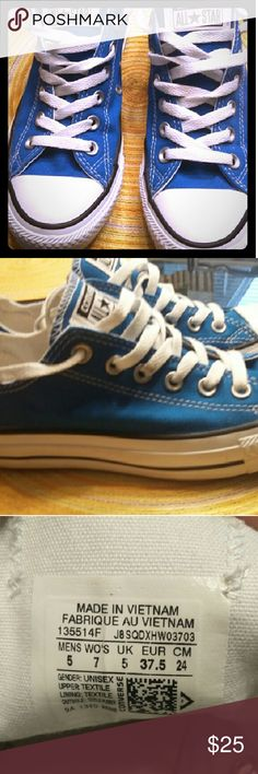 Converse Like New! Blue & White Converse All-star. Unisex 5 in Men/ 7 in Women Converse Shoes Sneakers