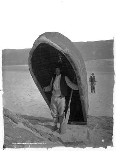 A fisherman with his Currach at Ardara, Co. Cannot for the life of me explain why, but I find the stance of the second man behind very appealing - something to do with the angle of his head perhaps. Date: Circa 1897 NLI Ref. Old Photos, Vintage Photos, Vintage Photographs, Irish People, Erin Go Bragh, Irish Culture, Kingdom Of Great Britain, Donegal, Historical Photos