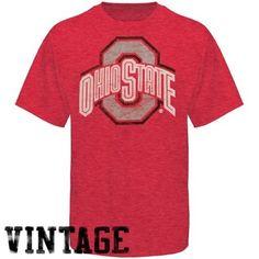 My U Ohio State Buckeyes Heather Scarlet Vintage Logo T-shirt