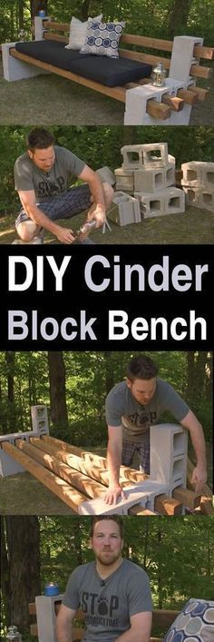DIY Cinder Block Bench - Homestead Survival Site This video is a great example of how many DIY projects are so easy anyone can do it. For this project, all you need are some cinder blocks and Outdoor Projects, Garden Projects, Home Projects, Outdoor Decor, Outdoor Benches, Wood Benches, Diy Backyard Projects, Design Projects, Diy Projects Bathroom