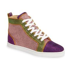 Women's Christian Louboutin Bip Bip High Top Sneaker ($945) ❤ liked on Polyvore featuring shoes, sneakers, pink glitter, glitter high tops, high top shoes, pink glitter sneakers, high top sneakers and retro sneakers