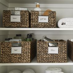 Use Decorative bins to organize toiletries, laundry supplies, and more. Label bins to make locating contents easy.