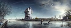 'BS25' Silos - Diving and Indoor Skydiving Center Proposal,Courtesy of Moko Architects