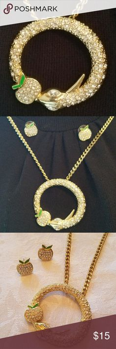 """Rare APPLE BOTTOMS Serpent Necklace & Earrings Super-cool goldtone long necklace in clear crystal with snake and apple motif.  Coordinating apple pierced stud earrings.  36"""" long Apple Bottoms Jewelry Necklaces"""