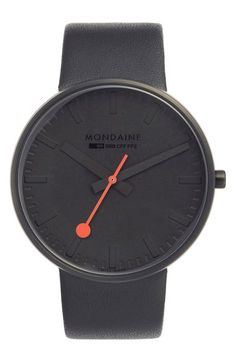 Mondaine 'Evo' Leather Strap Watch, 42mm available at #Nordstrom