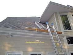 Roof Brackets and Ladders for Rotted Soffit and Fascia Repair