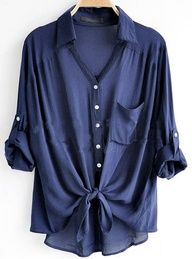 Cotton blend over-sized navy blue boyfriend shirt