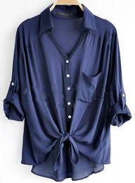 Cotton blend over-sized navy blue boyfriend shirt