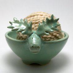 RESERVED--Moose Shaped Ceramic Yarn Bowl. $45.00, via Etsy.