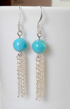 Genuine Polished Turquoise Bead & Silver Chain Earrings - Made on sterling silver French ear wires, these pretty earrings have an turquoise bead and sterl - Wire Jewelry, Jewelry Crafts, Beaded Jewelry, Jewelery, Jewelry Bracelets, Silver Bracelets, Jewelry Findings, Do It Yourself Jewelry, Chain Earrings
