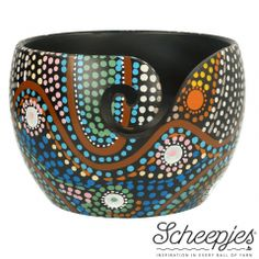 Scheepjes Yarn Bowl - mango wood with Aboriginal painting Crochet Home, Knit Or Crochet, Double Crochet, Aboriginal Painting, Dot Painting, Yarn Bowl, Blue Leaves, Crochet Hook Sizes, Knitting Accessories