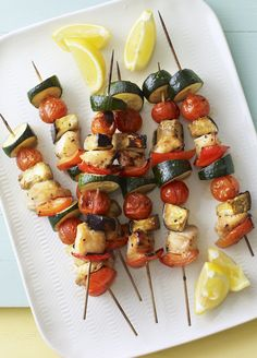 Chicken kebabs make a little meat go a long way - a great barbecue option from Eat Well for Less. Good Foods To Eat, I Foods, Light Summer Meals, Healthy Recipes, Healthy Meals, Healthy Food, Summer Recipes, Chicken Recipes, Food Photography