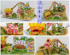 2014 New Hot sale Kids Educational Toys House Castle DIY 3D Jigsaw Puzzle For Children Adults (5 Models can choose) for gift