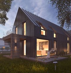 Buy Vray Night Scene - Rendering Modern House by VisualCG on Contemporary and minimalist building, simple architecture and awesome design of two story house. Modern Barn, Modern Farmhouse, Building Exterior, Building A House, Residential Architecture, Modern Architecture, Style At Home, Casa Loft, Story House