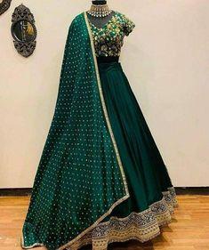 Green designer embroidered wedding lehenga choli - Fabric :tapeta satin silk lehnga with zari embroidery work ( meter flair )tapeta satin Blouse with zari embroidery work ( unstich )moss Georget duppata with 4 side border workIN LEHENGA ( SEMI Indian Lehenga, Green Lehenga, Silk Lehenga, Anarkali, Lehenga Choli Designs, Ghagra Choli, Designer Bridal Lehenga, Indian Wedding Outfits, Indian Outfits