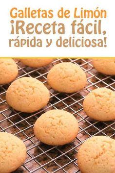 Galletas de Limón Lemon Cookies, Cake Cookies, Cupcake Cakes, Candy Recipes, Sweet Recipes, Cookie Recipes, Healthy Recipes, Biscuit Sandwich, Sandwich Cookies