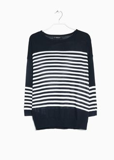 MANGO | Bargain striped sweater with round neck, dropped shoulder seams and 3/4 sleeves