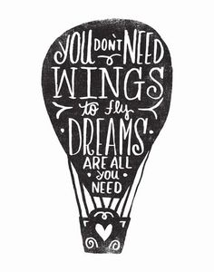wings & dreams by Matthew Taylor Wilson inspirational quote word art print motivational poster black white motivationmonday minimalist shabby chic fashion inspo typographic wall decor