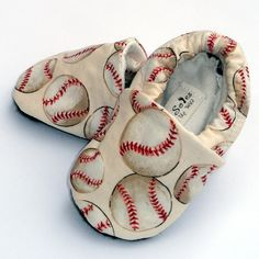 Baseball Baby Boy or Girl Shoes- Little Slugger Crib Shoes- Handmade with Organic lining- Size 12-18  months- Baby Clothes on Etsy, $24.00
