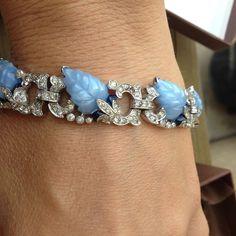 Vintage Blue enamel fruit basket rhinestone deco bracelet leaves