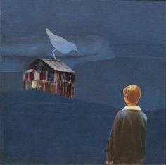 """""""vogelblau"""". handmade collage, analog collage by papiertänzerin."""