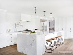 Gorgeous white sleek modern kitchen! Before+and+After:+An+Incredibly+Crisp+California+Redesign+via+@mydomaine