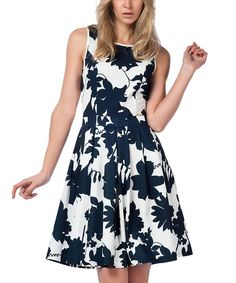 Another great find on #zulily! Navy & White Floral Fit & Flare Dress by Guita #zulilyfinds