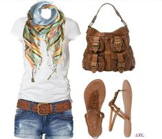Adorable scarf, which can be wore with any colored top, with blue jean shorts, cute sandals, and beautiful accessories!