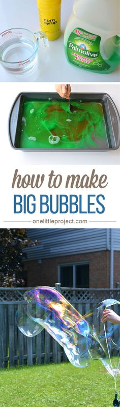 How to make Big Bubbles - This recipe for big bubbles is so much fun! And it uses simple ingredients that you probably have at home!
