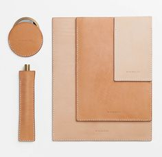 Tonal leather sleeves by London based brand, Minimalux
