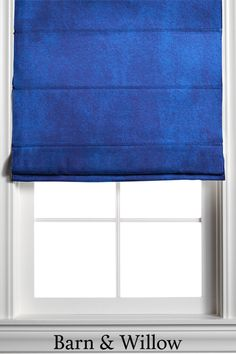 Roman Shade in a rich blue sapphire color. Made of velvet, this custom window shade is hand-stitched by expert hands and adds a touch of texture and style to any room. Custom Roman Shades, Sapphire Color, Window Coverings, Velvet, Hands, Windows, Curtains, Touch, Texture