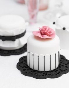 Miniature cakes, for a modern take on a wedding cake, have a mini cake tower of beautiful flavours and designs for a striking centrepiece