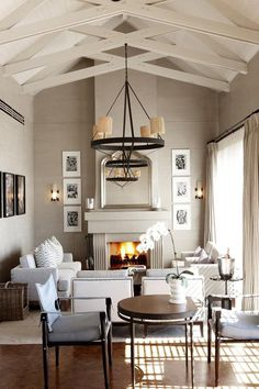 high ceilings with exposed beams