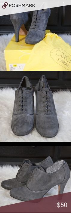 Grey Suede Pumps Beautiful, never worn grey suede lace up pumps from Nordstrom. Size 10. Joan & David Shoes Heels