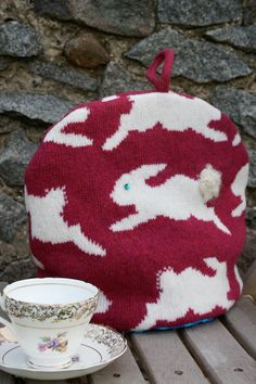 Dark Pink Bunny Rabbit Knitted Tea Pot Cozy/ Cosy by nervousstitch