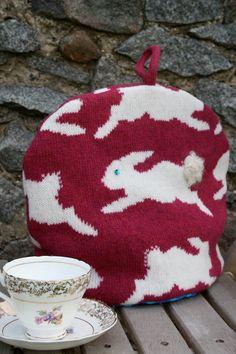 Dark Pink Bunny Rabbit Knitted Tea Pot Cozy/ Cosy by nervousstitch