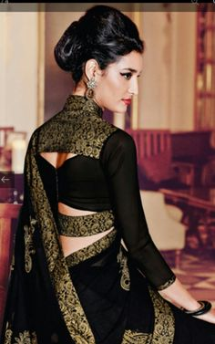 25 Latest Black Saree Blouse Designs Black is a color that looks very interesting, classy and one can never go wrong in a black outfit. In fact, black also makes you look slim and hide the flabs. We've compiled the list of the beautif… Indian Blouse Designs, Saree Blouse Neck Designs, Saree Blouse Patterns, Fancy Blouse Designs, Designer Blouse Patterns, Bridal Blouse Designs, Latest Blouse Designs, Latest Blouse Patterns, Sari Design