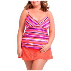 491694aabf0 Catalina - Women s Plus-Size Striped Surplice Tankini Swimsuit Top -  Walmart.com