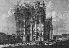 It took 632 year to built the Cologne Cathedral! Scheiner, Jakob: Köln, Dom, Westtürme im Bau 1872