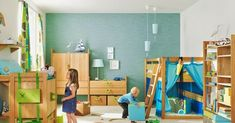 Kids Living Rooms, Cool Kids Bedrooms, Living Room Paint, Kids Rooms, Room Kids, Ideas Despensa, Toddler Playroom, Kids Room Furniture, Wooden Furniture